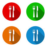 Vector set colorful flat icons restaurant Stock Photos
