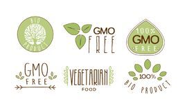 Vector set of colorful food emblems with text. GMO free. 100 natural product. Healthy eating theme. Collection of colorful food emblems with text. GMO free. 100 stock illustration