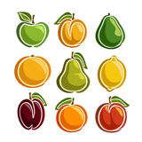 Vector Set colorful Fruits icons Stock Images