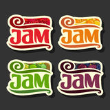 Vector Set colorful Fruits Jam Labels Stock Photo