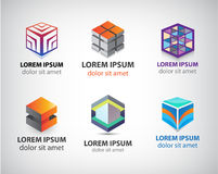 Vector set of colorful geometric 3d cube. Constructions, abstract logos, icons Stock Image