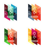 Vector set of colorful geometric infographics. For workflow layout, diagram, number options or navigation web design Royalty Free Stock Images