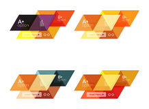Vector set of colorful geometric infographics. For workflow layout, diagram, number options or navigation web design Stock Images