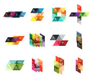 Vector set of colorful geometric infographics. For workflow layout, diagram, number options or navigation web design Stock Photography