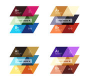 Vector set of colorful geometric infographics. For workflow layout, diagram, number options or navigation web design Royalty Free Stock Photo