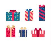 Vector set of colorful gift box symbols. Set of colorful gift box symbols Royalty Free Stock Image