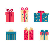 Vector set of colorful gift box symbols. Set of colorful gift box symbols Stock Photography