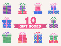 Vector set of colorful gift box symbols Royalty Free Stock Photo