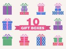 Vector set of colorful gift box symbols. Illustrated vector set of colorful gift box symbols Royalty Free Stock Photo