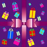 Vector set of colorful gift box symbols Royalty Free Stock Photography