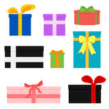 Vector set of colorful gift boxes. Royalty Free Stock Photos