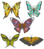 Vector set of colorful hand-drawn butterflies Royalty Free Stock Photo