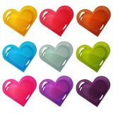 Set of Colorful Heats on White Background. Vector set of colorful hearts isolated on white background. Romantic item for games or other design works Royalty Free Stock Photos