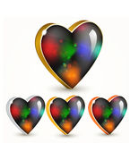 Vector set of colorful hearts Stock Images