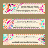 Vector set of colorful horisontal banners for business and invitation. Abstract geometric ornaments. Native american indian motifs Royalty Free Stock Photo