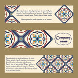 Vector set of colorful horisontal banners for business and invitation. Portuguese, Azulejo, Moroccan; Arabic; asian ornaments Royalty Free Stock Photo