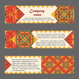 Vector set of colorful horisontal banners for business and invitation. Portuguese, Moroccan; Arabic; asian ornaments Stock Images