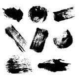 Vector set of colorful ink blots and brush strokes, isolated on the white background. Stock Photography