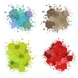Vector set of colorful ink splashes, ink blots. Splatter collection. Colored ink or paint paint splashes . Paint splash or splat, splattered ink, dirty blots Royalty Free Illustration
