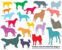 Set of colorful dogs silhouettes-7. Vector set of colorful isolated different breeds dogs silhouettes on white background. Part 7 Royalty Free Stock Photo
