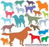 Set of colorful dogs silhouettes-8. Vector set of colorful isolated different breeds dogs silhouettes on white background. Part 8 Stock Photos