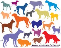 Set of colorful dogs silhouettes-4. Vector set of colorful isolated different breeds dogs silhouettes on white background. Part 4 Royalty Free Stock Photo