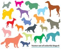 Set of colorful dogs silhouettes-6. Vector set of colorful isolated different breeds dogs silhouettes on white background. Part 6 Royalty Free Stock Photo