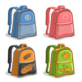 Vector set colorful kids Backpacks. Blue boys college back bag with handle, pink girl fashion rucksack with pocket, orange youth sports backpack for school Stock Photo