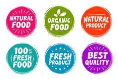 Vector set colorful labels for food, nutrition. Collection icons Royalty Free Stock Photo