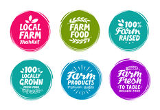 Vector set colorful labels for food, nutrition. Farm collection icons Royalty Free Stock Images