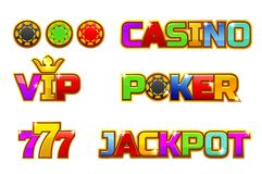 Vector set colorful logo JACKPOT, POKER, 777, CASINO and VIP. Gold chips. Vector set colorful logo JACKPOT, POKER, 777, CASINO and VIP. Gold play chips stock illustration