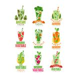 Vector set of colorful logos with natural juices from fresh vegetables. Healthy beverage. Veggie nutrition. Tasty drink. Set of colorful logo templates with Royalty Free Stock Photo