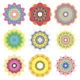 9 vector set colorful mandala on white background Royalty Free Stock Photography