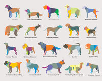Vector set of colorful mosaic dogs silhouettes Royalty Free Stock Photography