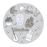 Vector set of colorful objects, cartoons and icons of Mexico. Stock Photo