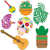 Vector set of colorful objects, cartoons and icons of Mexico. Stock Photos