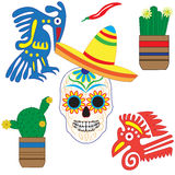 Vector set of colorful objects, cartoons and icons of Mexico. Royalty Free Stock Photo