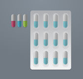 Vector set of colorful pills Stock Photos