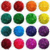 Vector set with colorful pompon. Vector colorful set with illustration of pompom isolated on white background for you design Stock Photography