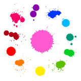 Vector set of colorful rainbow ink splashes  on white background Royalty Free Stock Photos