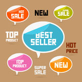 Vector Set of Colorful Retro Paper Discount Labels Stock Photography