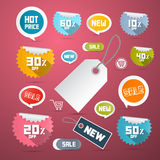 Vector Set of Colorful Retro Paper Discount Labels Royalty Free Stock Photography