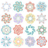 Vector set of colorful round pattern Royalty Free Stock Photography