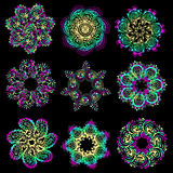 Vector set of colorful round pattern vector illustration