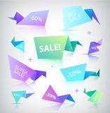 Vector set of colorful sale banners, bubbles, 3d paper origami icons Stock Photos
