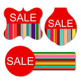 Vector set of colorful sale tags. On isolated white background Stock Image