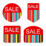 Vector set of colorful sale tags. On isolated white background Royalty Free Stock Images