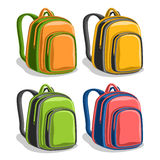 Vector set colorful school Backpacks Royalty Free Stock Images