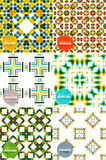 Vector set of colorful seamless geometric patterns. Modern stylish abstract textures. Backgrounds and wallpapers Royalty Free Stock Photo