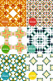 Vector set of colorful seamless geometric patterns. Modern stylish abstract textures. Backgrounds and wallpapers Royalty Free Stock Image